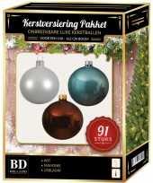Kerstballen met piek set wit bruin ijsblauw voor 150 cm kerstboom kerstversiering