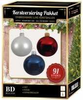 Kerstballen met piek set wit donkerblauw rood voor 150 cm kerstboom kerstversiering