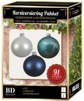Kerstballen met piek set wit ijsblauw donkerblauw voor 150 cm kerstboom kerstversiering
