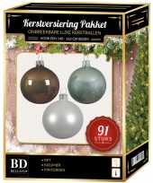 Kerstballen met piek set wit kasjmier bruin mintgroen voor 150 cm kerstboom kerstversiering