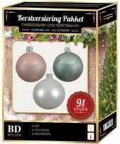 Kerstballen met piek set wit mint lichtroze voor 150 cm kerstboom kerstversiering