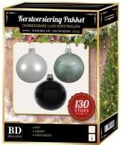 Kerstballen met piek set wit mintgroen zwart voor 180 cm kerstboom kerstversiering