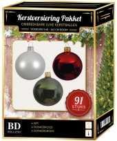 Kerstballen met piek set wit rood donkergroen voor 150 cm kerstboom kerstversiering
