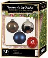Kerstballen met piek set zilver bruin donkerblauw voor 150 cm kerstboom kerstversiering