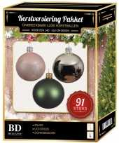Kerstballen met piek set zilver donkergroen lichtroze voor 150 cm kerstboom kerstversiering