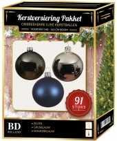 Kerstballen met piek set zilver grijsblauw donkerblauw voor 150 cm kerstboom kerstversiering