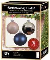 Kerstballen met piek set zilver lichtroze donkerblauw voor 150 cm kerstboom kerstversiering