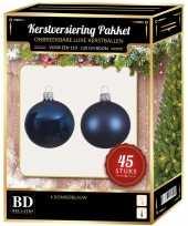 Kerstballen met ster piek set donkerblauw voor 120 cm kerstboom kerstversiering 10170329