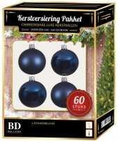 Kerstballen met ster piek set donkerblauw voor 150 cm kerstboom kerstversiering