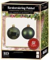 Kerstballen met ster piek set donkergroen voor 120 cm kerstboom kerstversiering 10170339