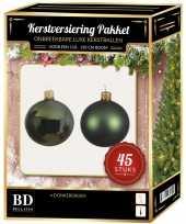 Kerstballen met ster piek set donkergroen voor 120 cm kerstboom kerstversiering