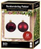 Kerstballen met ster piek set donkerrood voor 120 cm kerstboom kerstversiering 10170319