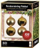 Kerstballen met ster piek set goud voor 210 cm kerstboom kerstversiering