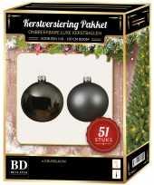 Kerstballen met ster piek set grijsblauw voor 120 cm kerstboom kerstversiering 10170402