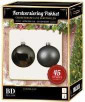 Kerstballen met ster piek set grijsblauw voor 120 cm kerstboom kerstversiering