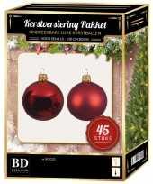 Kerstballen met ster piek set kerst rood voor 120 cm kerstboom kerstversiering 10170369
