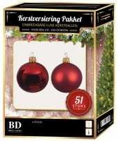Kerstballen met ster piek set kerst rood voor 120 cm kerstboom kerstversiering
