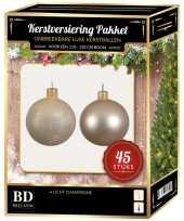 Kerstballen met ster piek set licht parel champagne voor 120 cm kerstboom kerstversiering 10170376