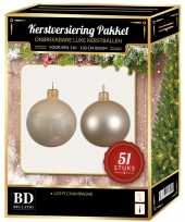 Kerstballen met ster piek set licht parel champagne voor 120 cm kerstboom kerstversiering