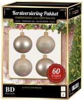 Kerstballen met ster piek set licht parel champagne voor 150 cm kerstboom kerstversiering