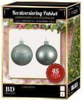 Kerstballen met ster piek set mintgroen voor 120 cm kerstboom kerstversiering