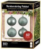 Kerstballen met ster piek set mintgroen voor 150 cm kerstboom kerstversiering