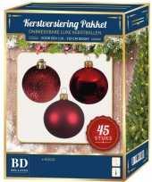 Kerstballen met ster piek set rood voor 120 cm kerstboom kerstversiering