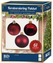 Kerstballen met ster piek set rood voor 150 cm kerstboom kerstversiering