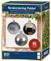 Kerstballen met ster piek set zilver voor 120 cm kerstboom kerstversiering 10161732