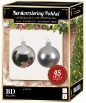 Kerstballen met ster piek set zilver voor 120 cm kerstboom kerstversiering 10170367