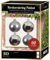 Kerstballen met ster piek set zilver voor 150 cm kerstboom kerstversiering 10157797