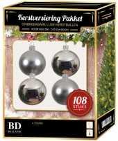 Kerstballen met ster piek set zilver voor 210 cm kerstboom kerstversiering