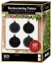 Kerstballen met ster piek set zwart voor 150 cm kerstboom kerstversiering