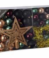Kerstboom decoratie set 33 delig groen zwart brons kerstversiering 10097618