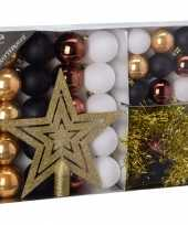 Kerstboom decoratie set 33 delig woods classics kerstversiering
