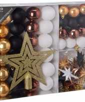 Kerstboom decoratie set 45 delig woods classics kerstversiering