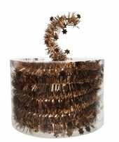 Kerstboom folie slinger met ster koper bruin 700 cm kerstversiering