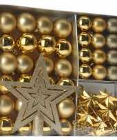 Kerstboom versieringset goud 45 delig kerstversiering
