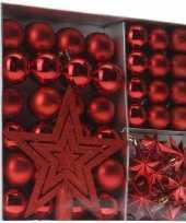 Kerstboom versieringset rood 45 delig kerstversiering