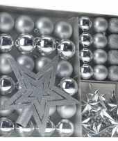 Kerstboom versieringset zilver 45 delig kerstversiering