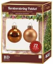 Kerstboomversiering kerstballen set oranje 72 stuks kerstversiering