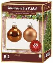 Kerstboomversiering kerstballen set oranje 88 stuks kerstversiering
