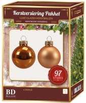 Kerstboomversiering kerstballen set oranje 97 stuks kerstversiering