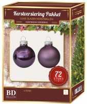 Kerstboomversiering kerstballen set paars 72 stuks kerstversiering