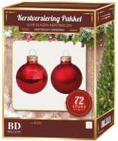 Kerstboomversiering kerstballen set rood 72 stuks kerstversiering