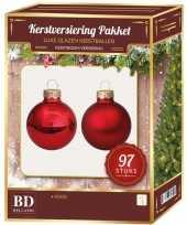 Kerstboomversiering kerstballen set rood 97 stuks kerstversiering