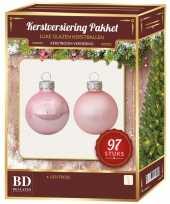 Kerstboomversiering kerstballen set roze 97 stuks kerstversiering
