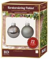 Kerstboomversiering kerstballen set titanium grijs 72 stuks kerstversiering