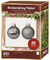 Kerstboomversiering kerstballen set titanium grijs 88 stuks kerstversiering