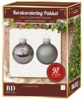 Kerstboomversiering kerstballen set titanium grijs 97 stuks kerstversiering